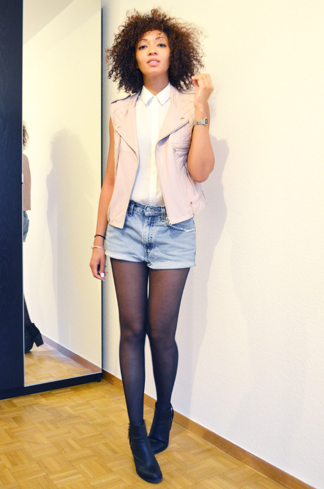 mercredie-blog-mode-beaute-suisse-geneve-bottines-h&m-2013-short-levis-501-chemise-blanche-newlook-look-cheveux-afro-gilet-cuir-blouson-sans-manches-maje-rose-zip-20132