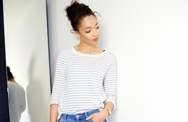 mercredie-blog-mode-geneve-mariniere-lafayette-collection-jean-slim-skinny-zara-zip-bun-curly-hair-nappy-afro-natural