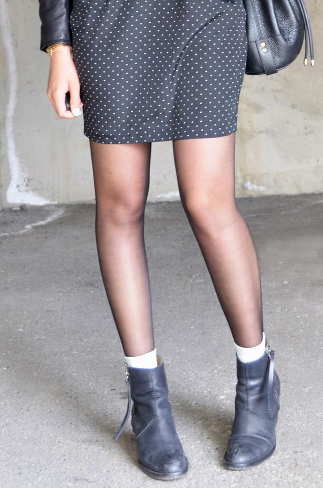 mercredie-blog-mode-geneve-suisse-robe-pois-asos-a-wear-pistol-acne-boots-badelaine-lurex-grises-argent-perfecto-la-canadienne