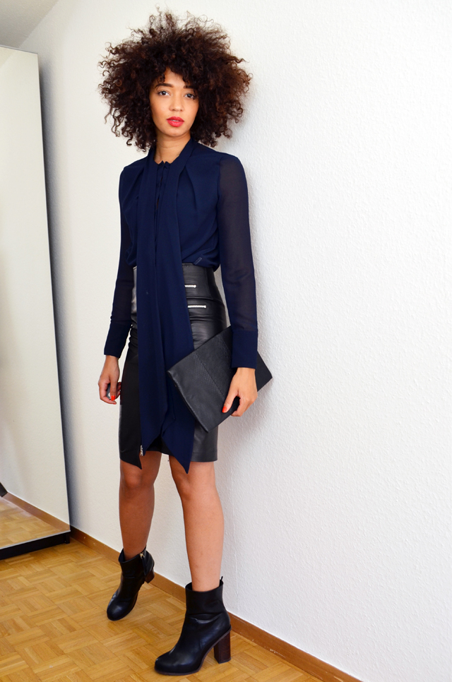 mercredie-blog-mode-geneve-jupe-bourbon-longue-slave-paris-cuir-bottines-h&m-2014-chemise-noeud-zara-pochette-bcbg-maxazria2