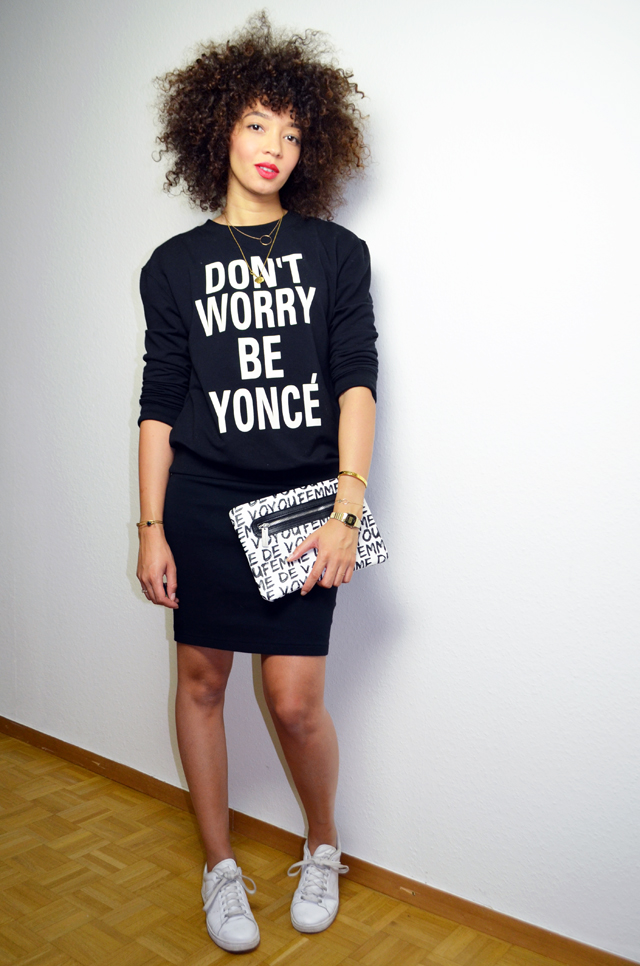 mercredie-blog-mode-geneve-sweat-shirt-sheinside-dont-worry-be-yonce-beyonce-curly-afro-natural-curls-hair-stan-smith-adidas-femme-de-voyou-pochette-florette-paquerette