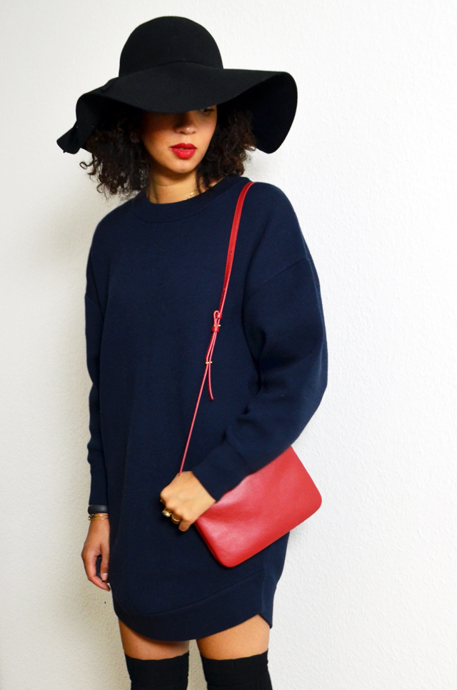 mercredie-blog-mode-over-the-knee-tights-socks-forever21-chaussettes-hautes-robe-pull-and-other-stories-capeline-cheveux-frises-chapeau-celine-trio-bag-sac-rouge