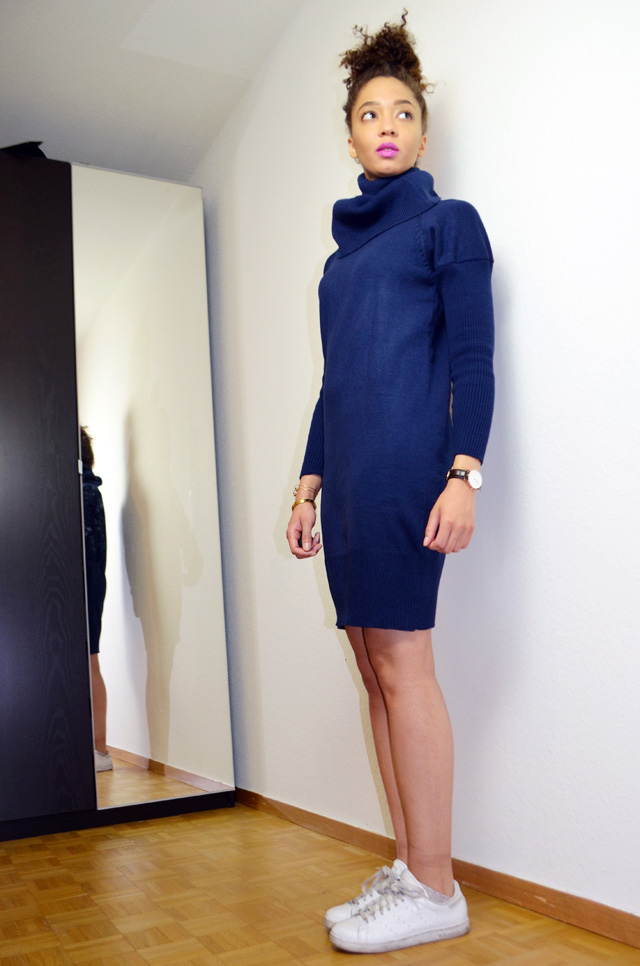 mercredie-blog-mode-beaute-makeup-kiko-purple-lipstick-923-peony-zaful-dress-bun-afro-natural-hair-stan-smith-adidas-white-outfit-inspiration3