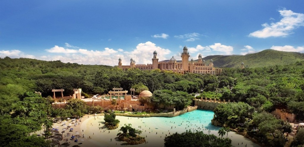 Wide view over the Valley of Waves and Palace of the Lost City at the Sun City Resort