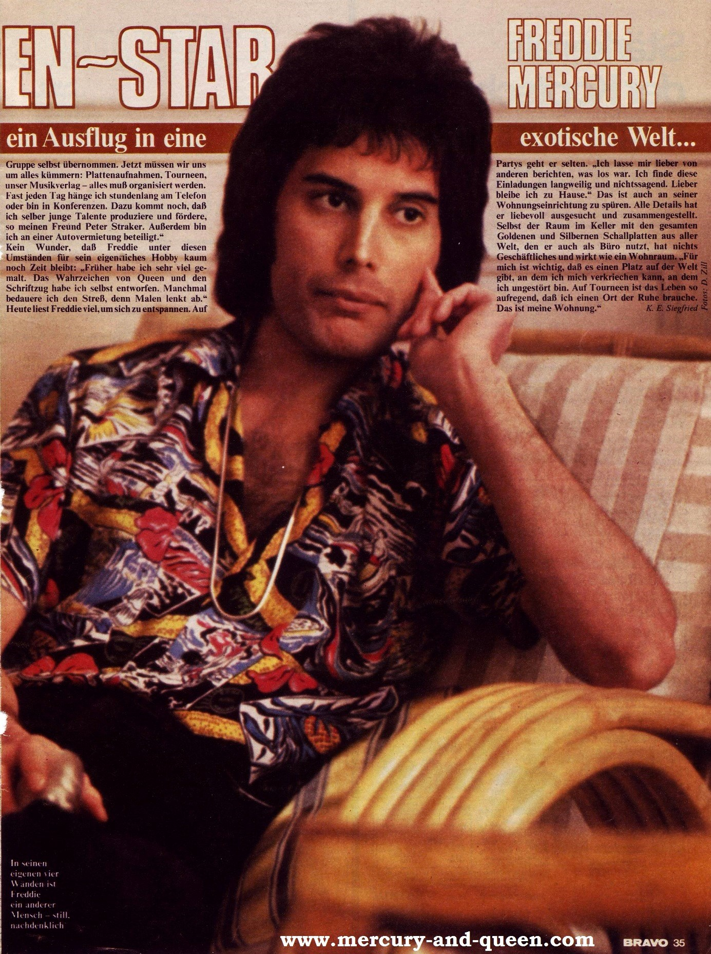 BRAVO magazine visits Freddie Mercury  1978  vintage
