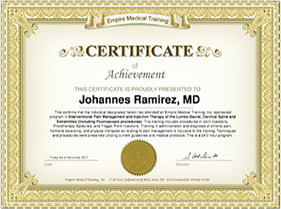 Johannes Ramirez, MD: Vitality And Longevity Centers - No More Pain!  Now Board Certified In Pain Management!