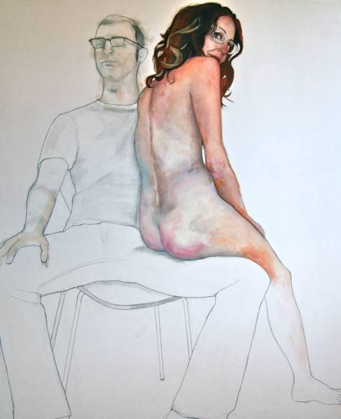 Musical Chairs (2014) graphite & oil on canvas