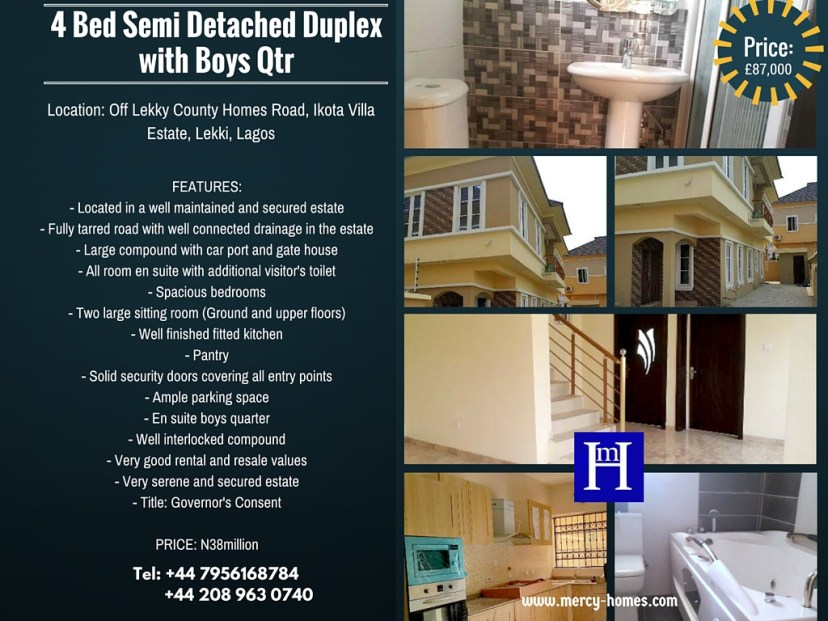 4 Bed Semi Detached Duplex with Boys Qtr Ikota