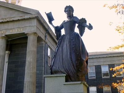 A bronze statue of Mercy in Massachusetts.