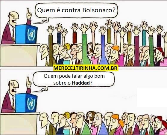 Quem é contra Bolsonaro? Quem pode falar algo sobre Haddad? Alguém pode me responder?