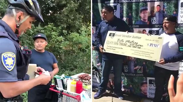 Image result for officer takes money from hotdog vendor
