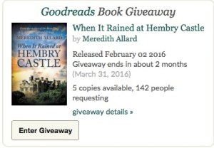 Enter the giveaway for a chance to win a paperback copy of When It Rained at Hembry Castle.