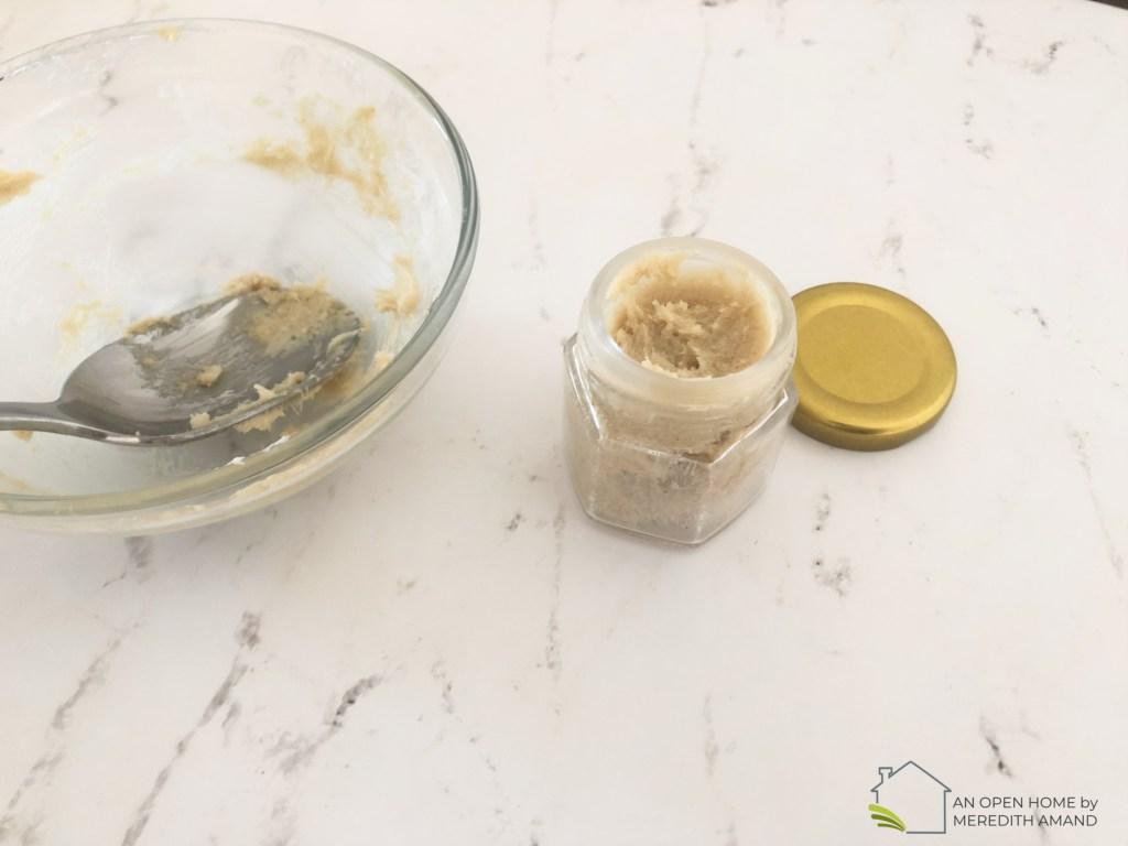 DIY Brown Sugar Shea Butter Lip Scrub - 3 ingredient scrub to help your dry lips all winter long   MeredithAmand.com