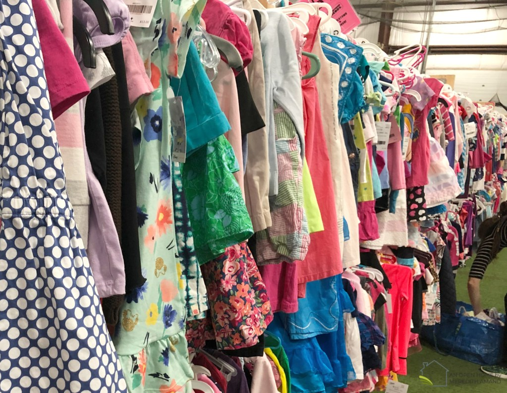 Clothing at a children's resale | 12 tips for shopping at a kid's consignment sale | MeredithAmand.com