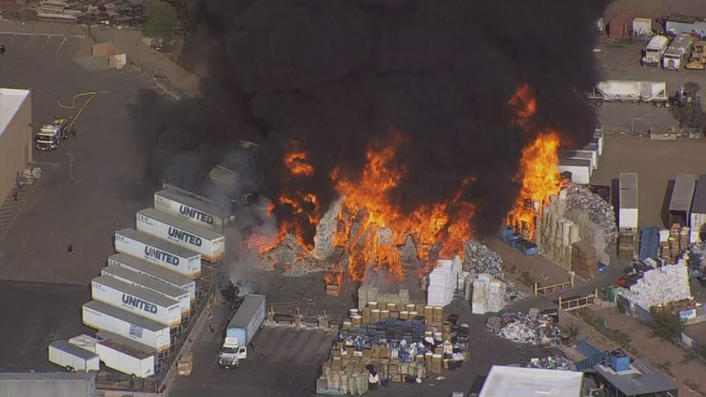 PHOTOS Fire at recycling plant in Phoenix  Arizonas Family