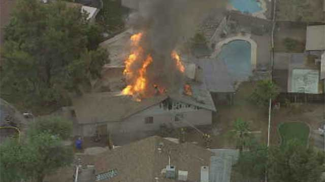 Crews battle house fire in Chandler  Arizonas Family