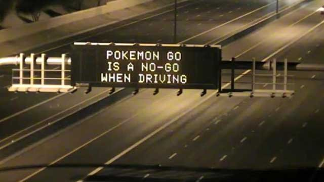 ADOT sign reminds gamers that Pokemon Go is nogo when