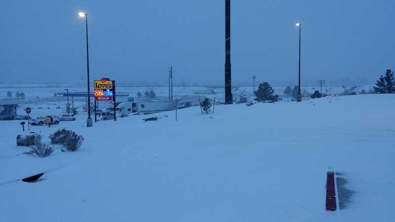Trucks stuck at I-40 exit 163 heading to Love's Travel Stop. (Source: Leslie Stevens)