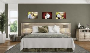 family photos on bedroom walls