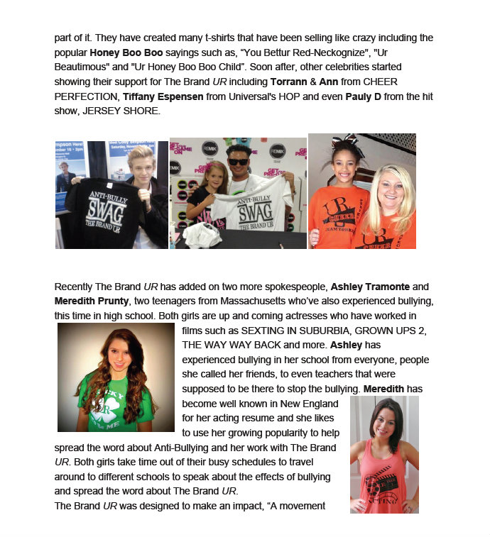 Press Release: Brand UR goes Global with #TEAMBULLYPROOF Meredith Prunty, Ashley Tramonte, Paisley Dickey & Addison LaFountaine (3/4)