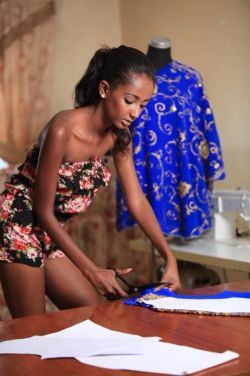 Designer and Miss Ethiopia 2014 Hiwot Bekele at work