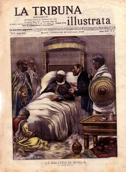 French magazine La Tribuna Inlustrata announces the passing away of Emperor Menelik II of Ethiop ...
