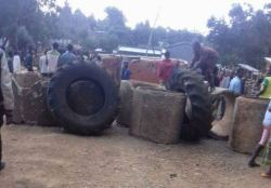 Protesters block roads in some towns in Oromia region of Ethiopia to prevent soldiers from movin ...