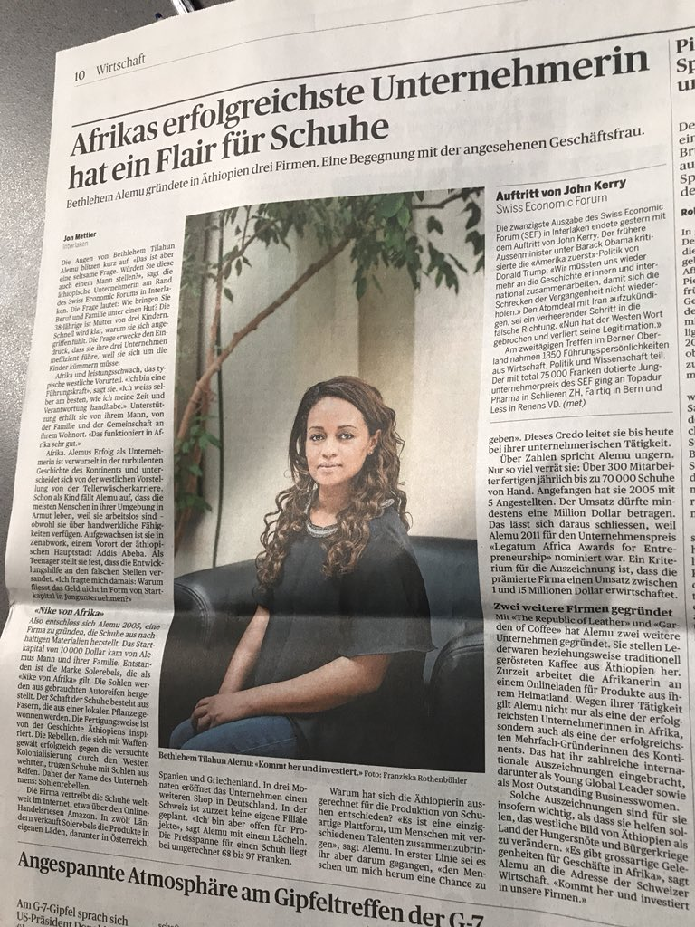 """""""""""A true honor to be featured today on the front page of Switzerland's nationa ..."""