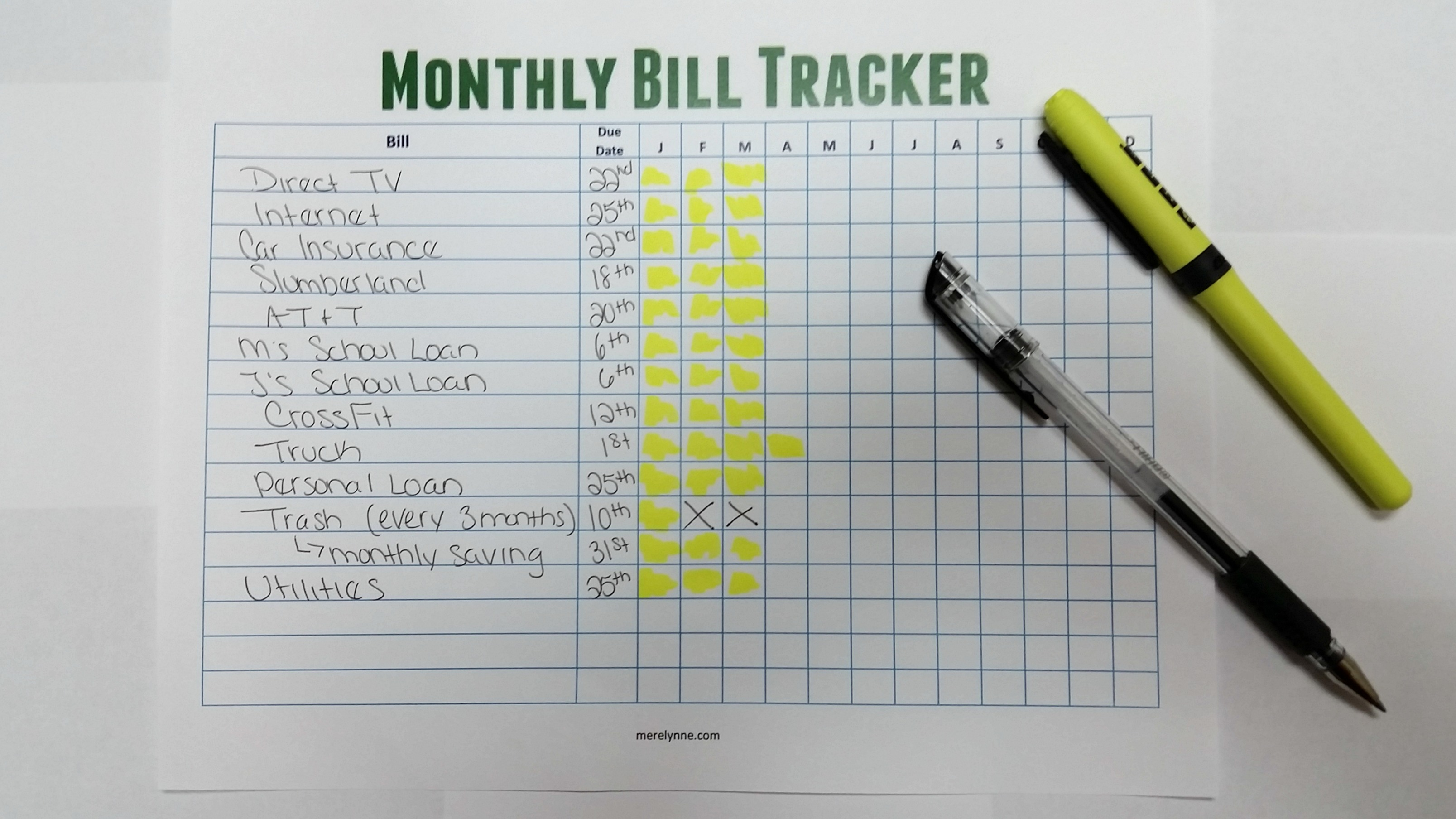Stay On Top Of Your Monthly Bills Free Monthly Bill