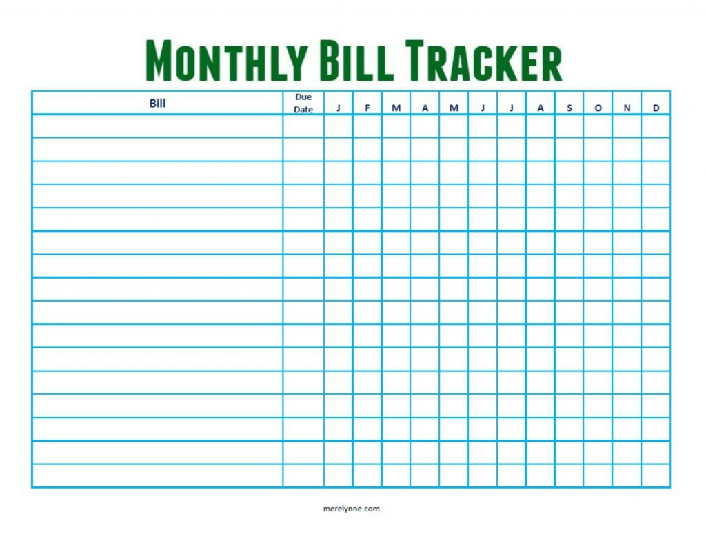 Stay On Top Of Your Monthly Bills Free Monthly Bill Tracker Download