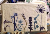Canvas tote with freesia, random flowers and a dandelion.
