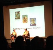 """Artist Talk with Bonnie Clearwater and Julian Schnabel, Oct. 12, at NSU Museum of Art Fort Lauderdale discussing the opening of the """"Cafe Dolly"""" exhibit featuring the work of Picabia, Schnabel and Willumsen."""