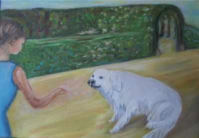 Fillette et le chien Artiste