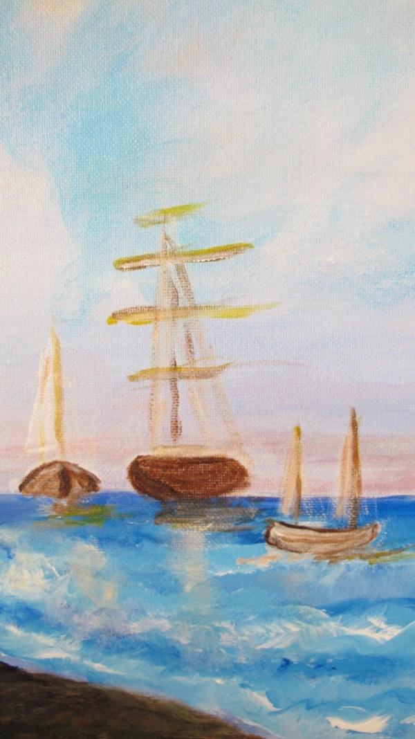 Détail peinture Jeune Fille Face à la mer