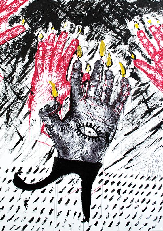 Eyes Hand Red Black