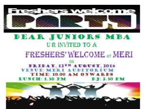 Mba freshers welcome party august 12 2016 management mba freshers invite 2016 stopboris Choice Image