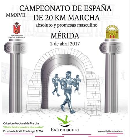 El Campeonato de España de 20 km marcha, se celebrará este domingo 2 de abril en Mérida