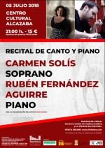 La soprano Carmen Solís y el pianista Rubén Fernández ofrecen un recital el jueves