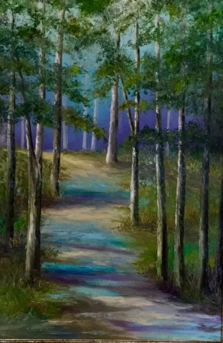 Artist painting pictures with oil paints on canvas - Tim Allred