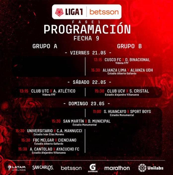 Programación fecha 9, PROGRAMACIÓN DE LA FECHA 9 EN LA LIGA 1