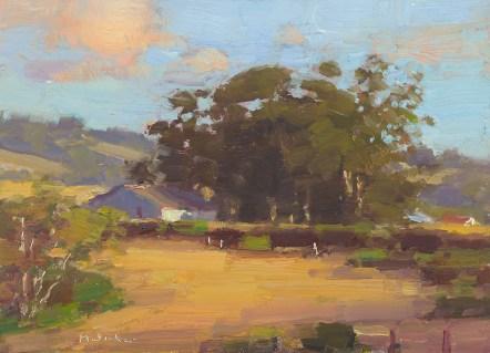 """Jim McVicker, Autumn Gold, oil on panel, 5"""" x 7"""", 2010."""