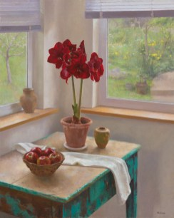 Jim McVicker, Red Amaryllis, Overcast Day, 40x32, oil on linen.