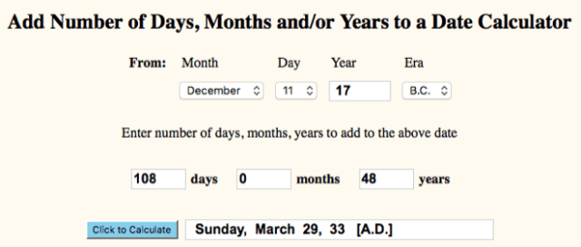 Number of Days - Birth to Palm Sunday