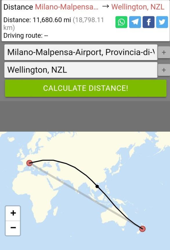 distanza Milano Malpensa - Wellington