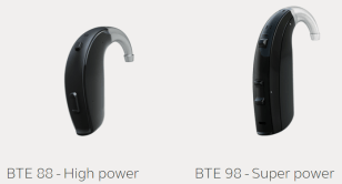 ReSound Enzo Q BTE 88 (high power) and 98 (super power) hearing aid shown in black.