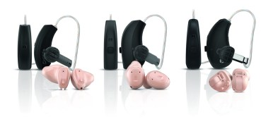 Widex Moment hearing aid family. 3 black BTE style, 3 flesh toned ITE style