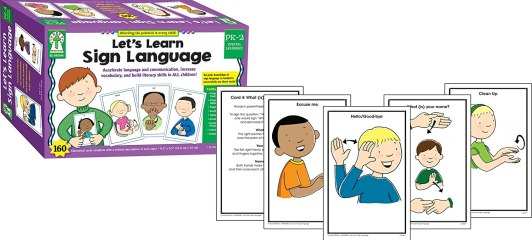 Lets Learn Sign Language box and sample cards