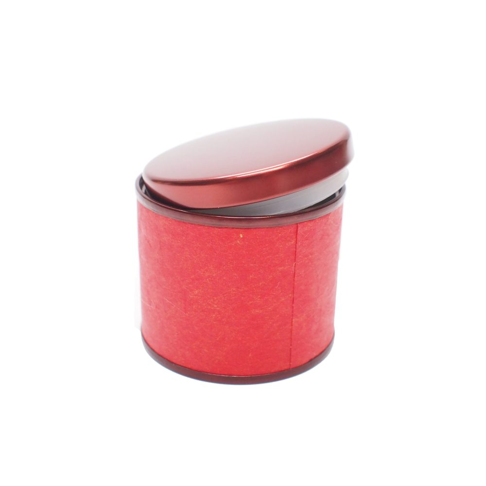 Round Metal Container with Paper Cover