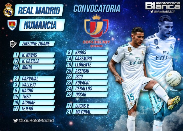 Convocatoria Real Madrid-Numancia