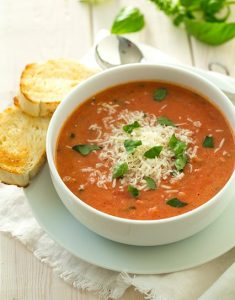 tomato basil soup with bread